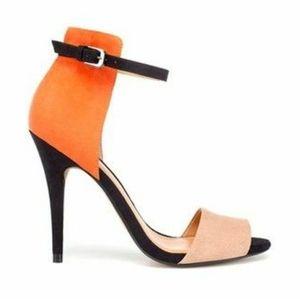Zara Orange And Tan Suede Heels